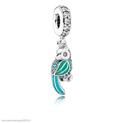 Pandora Offerte Animali Charms Tropicale Parrot Penzolare Charm Smalto Mistos Teal Clear Cz